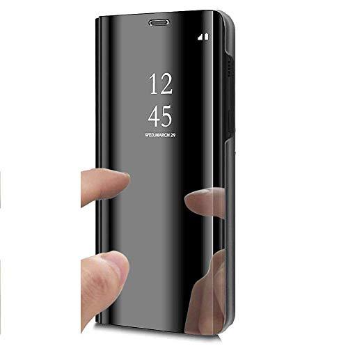 Uposao Kompatibel mit Galaxy S7 Edge Klapphülle Lederhülle Bookstyle Ledertasche Flip Case Clear View Hülle Cover Überzug Make Up Mirror Case Spiegel Handyhülle Glitzer Schutzhülle,Schwarz