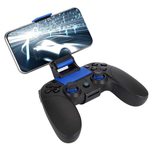 Drahtloser Gamecontroller, Mobiler Gamecontroller, Bluetooth-Gamepad-Multimedia-Gamecontroller-Joystick für Android/IOS mit Einziehbarer Halterung(Schwarz + Blau + Farbfeld)