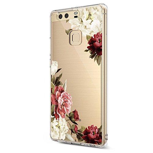 Pacyer Case kompatibel mit Huawei P9 Hülle Silikon Ultra dünn Transparent Handyhülle Huawei P9 Schutzhülle Silikon Rückschale TPU für HUAWEI P9 Cover Rot Blume Mädchen Macaron(Blumen 3)