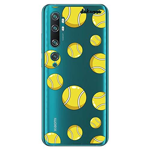 dakanna Funda Compatible con [Xiaomi Mi Note 10] de Silicona Flexible, Dibujo Diseño [Pelotas de Tenis], Color [Fondo Transparente] Carcasa Case Cover de Gel TPU para Smartphone