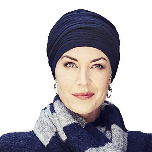 Turban oncologique Crystal en Maille Coton Bleu Nuit