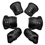 Chennie 6 stücke Kinder Kinder Sport Schutzausrüstung Set Knieellenbogenschutz Pads Handgelenkschutz Set für Radfahren Skateboard Skating (Color : Black)