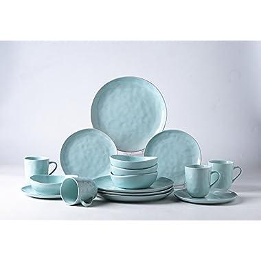Pangu 16-Piece Porcelain Dinnerware Sets, MINIMALISM, Handmade Irregular Shape Look, Service for 4 (16 piece, Light green)