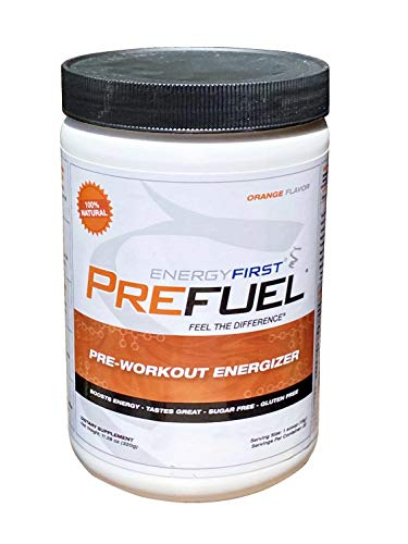 Prefuel Pre-Workout Energizer   100% Natural   Sugar Free   Gluten Free   Non-GMO   Vegan   Great Tasting Orange Flavored Pre-Workout   11.28 oz by EnergyFirst