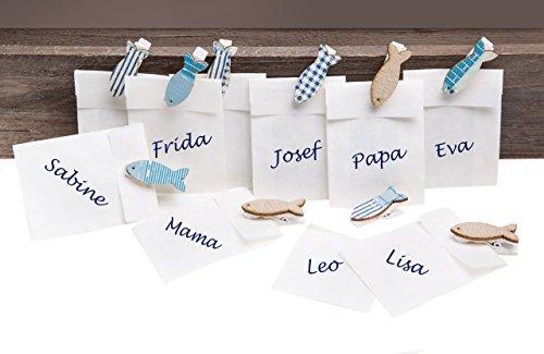 10 kleine weiße Mini-Tüten Papiertüten 5,3 x 7,8 cm + blau türkis Fische Holz Deko-Klammer Tischkarten Namensschilder Kommunion Kinder-Geburtstag Taufe Gastgeschenk give-away Mitgebsel
