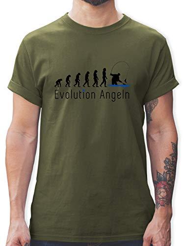 Evolution - Angeln Evolution - L - Army Grün - Angel Tshirt Herren - L190 - Tshirt Herren und Männer T-Shirts