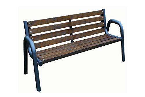 Sitzbank für Garten, Vorgarten, Stadt, Land, Gemeinde, Massiv und Robust, Holz, Stahl, Wetterfest, Verschiedene Größen, Langlebig und Stabil (Primario Braun 150cm)