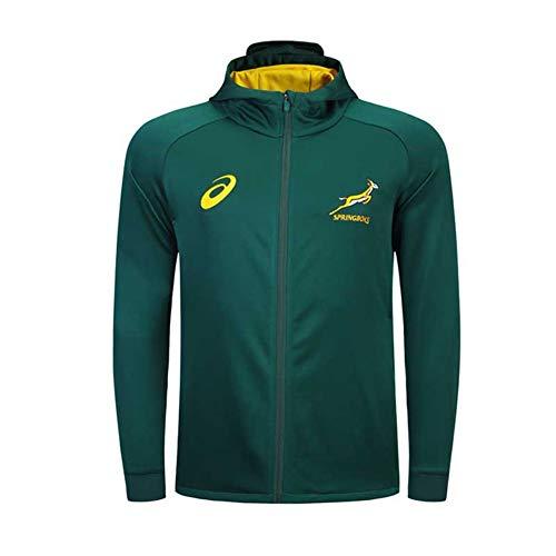 LQLD 2018-19 Südafrika Rugby Jacke Trikots, Männer Trainings Jersey Polo-Shirt Langarm-Tops Männer Casual Sakko Fußball Kleidung,Grün,XXL
