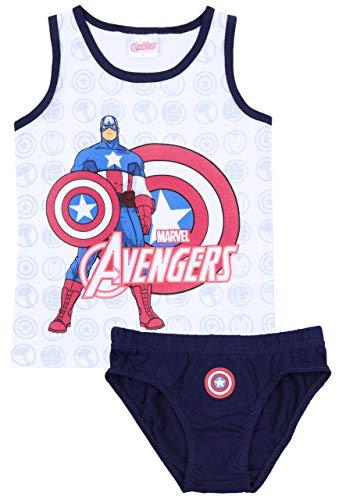 Weiß-dunkelblaues T-Shirt + Unterhose Avengers 6-7 Jahre