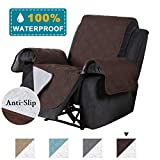 100% Waterproof Recliner Chair Cover Recliner Slipcoer Recliner Cover Chair Cover for Pets/Dogs/Kids, Full Protective Thick Quilted with Non Slip Backing Machine Washable, Brown