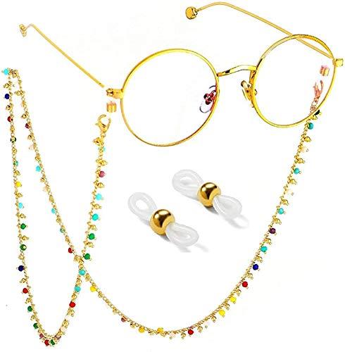 ASDF Cordón de Cadena del Collar de la Lente de la Correa del Tenedor de Las Gafas de Sol de la Cadena Moldeada Colorida de la Lente para Las Mujeres