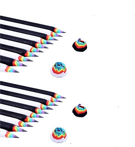 Yalulu 20 Stück 2B Regenbogen Bleistifte Entwurf Schreiben Malen Zeichnen Bleistifte Schreiben Schüler Bleistift
