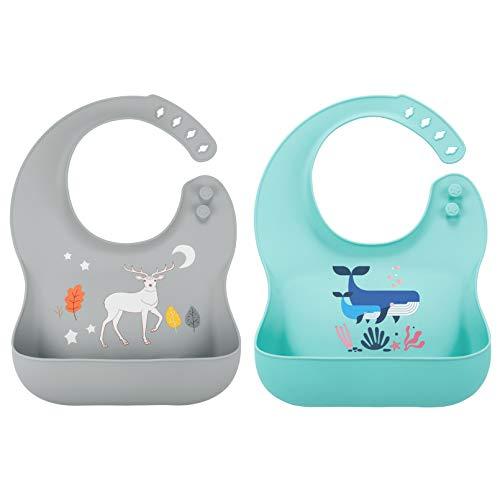 Yoofoss Bavoirs pour bébés en silicone, Bavoirs pour les repas pour garçons et filles - lot de 2, Sans BPA, hypoallergénique, imperméable, doux, facile à nettoyer - Bleu/Gris
