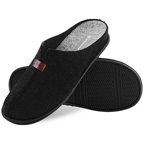 Dunlop Zapatillas Casa Hombre, Zapatillas Hombre Forro de Felpa, Pantuflas Hombre Suela Antideslizante, Regalos Para Hombre y Adolescentes Talla 41-46 (42, Negro, numeric_42)