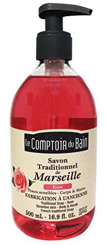Le Comptoir du Bain Savon de Marseille Liquide Rose 500 ml - lot de 3