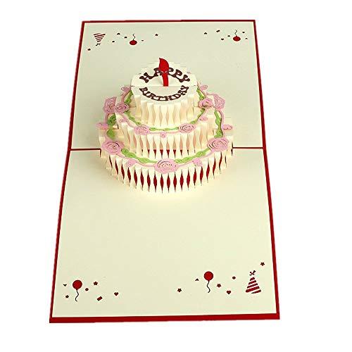 """MUROAD Creative 3D Tarjeta de Felicitación para Cumpleaños -Tarjeta Emergente de Cumpleaños para Niños, Pop up Tarjeta""""Pastel de cumpleaños"""""""