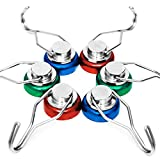 siMul 55lb Colorful Swivel Magnetic Hook - Heavy Duty Neodymium Magnets for Refrigerator Door Key BBQ Grill Locker Coat Powerful Magnetic Wreath Hanger Strong Magnetic Hooks for Cruise Cabins 6 Pack