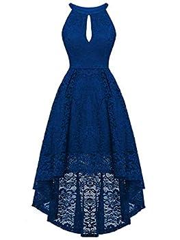 FAIRY COUPLE Woman s Hi-Low Halter Neck Vintage Wedding Party Cocktail Dress DL022 2XL,B Royal Blue