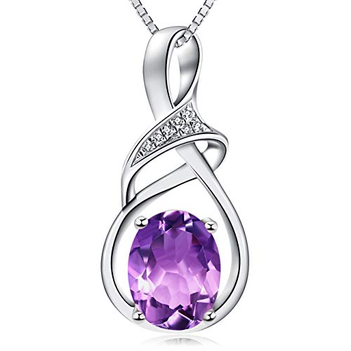 HXZZ Fine Jewelry Gifts for Women Sterling Silver Natural Gemstone Amethyst Pendant Necklace