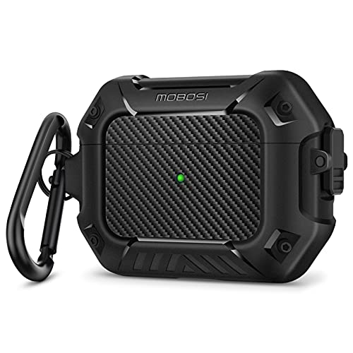 MOBOSI Compatible with AirPods Pro Case, Secure Lock Clip Full Body Shockproof Hard Shell...