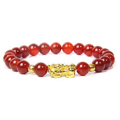 QYAQ Stone Bracelet For Women,7 Chakra Natural Red Agate Stone Bead Bracelet Golden Pixiu Elasticity Bangle Boho Style Woman Jewelry Yoga Gift Girlfriend Mom Couple Gifts