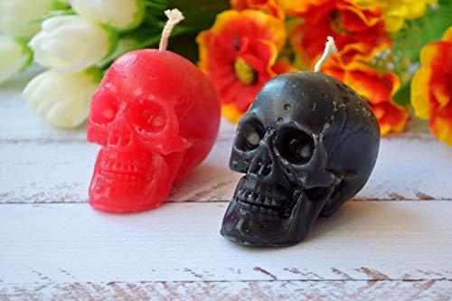 Totenkopf Schädel Kerze Blutrot oder Schwarz Ritual Zauberarbeit Wicca Wurzelarbeit Heidnisches Voodoo Halloween Dekor Magischer Tag der Toten Gotik Geschenk Freund Geschenke Tag vor Allerheiligen