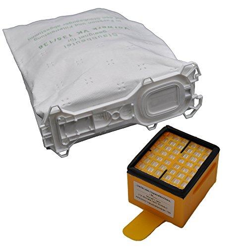 6 Staubsaugerbeutel 5 lagig, aus hochwertigem Premium - Microvlies, für Allergiker geeignet, passend für Vorwerk Kobold 135 136 VK 135 VK 136 FP135 FP136 FP135 SC (Wei)  und SC-Modelle  1 Hygiene Mikrofilter HEPA
