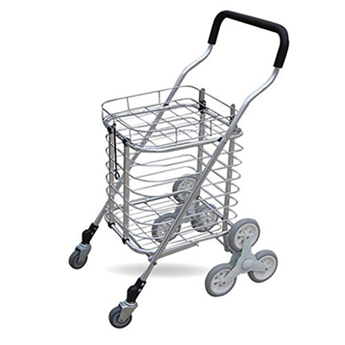 Hand Trucks Folding Trolley Aluminum Shopping Cart Folding Basket Car Portable Trolley Car Small Trailer Best Gift (Color : Silver, Size : 554486cm)