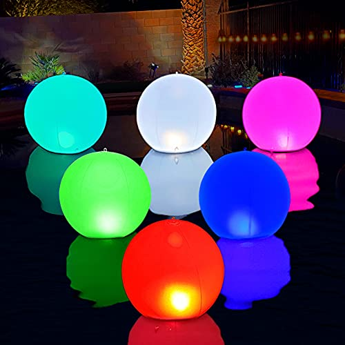 Cootway Floating Pool Lights Ball, Hangable 14 Inch Solar Powered Pool Lights with 5 Light Modes, Inflatable Waterproof Colorful LED Glow Globe Lights for Pool Garden Patio Lawn Wedding Party (1pcs)