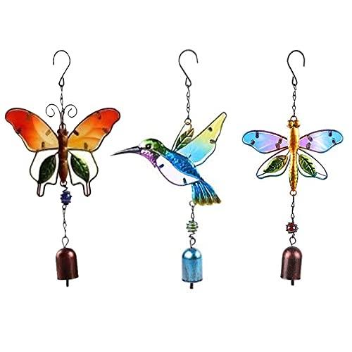 3 Piezas colector de Sol Colgante decoración Colgantes de Ventana 1 colibrí 1 libélula 1 Mariposa con Campana para Colgar en el jardín de su casa