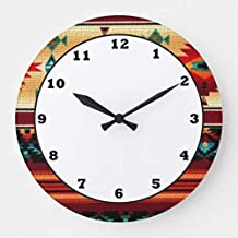 Moonluna Southwestern Pattern Fun Wall Clocks Large Decorative Wooden Quartz Silent Clock 14 Inches Home Clock Gifts for Women