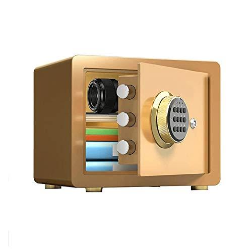 Z-Color Caja Fuerte Cajas Fuertes, Hogar Armario antirrobo Invisible Oficina Acero Seguro Toda la Huella Digital del Archivo de contraseña Fuerte con Llave (Color : Gold)