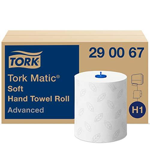 Tork Matic Rollenhandtuch Advanced 290067 - H1 Papierhandtücher für Rollenhandtuchspender, weich, reißfest, 2-lagig, weiß, mit Blatt-Prägung in Grau
