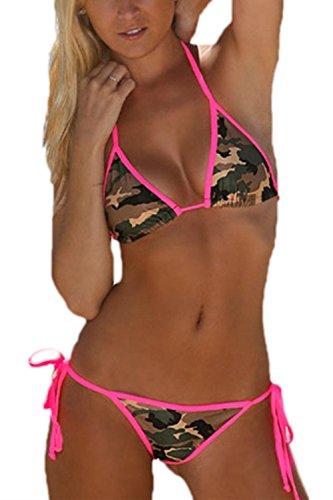 Bikini Mujer Push Up Traje de Baño Estampado Camuflaje Conjunto de Dos Piezas Playa Piscinaa Camo L