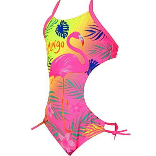 Candygirls Kinder Badeanzug Flamingo Neon Bunt Neckholder Mädchen Strand Bikini Palme Blume 9513 (Pink, 128/134)