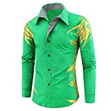 eihejiancai Primavera Otoño Características Camisas Hombres Casual Oro Camisa Manga Larga Casual Slim Fit Camisas Masculinas, verde, XXL