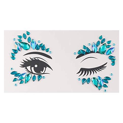 BJKKM Duradero 2pc Tatuaje Temporal Cara Joyería Gemas Rhinestone Decoración Fiesta Maquillaje Cuerpo Brillante Festival Flash Tatuajes Arte Corporal Etiquetas engomadas para la Fiesta del Festival