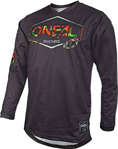 O'NEAL | Motocross-Trikot | Enduro MX | Atmungsaktives Material, Maximale Bewegungsfreiheit, Verlängerter Rücken | Jersey Mahalo | Erwachsene | Schwarz Multi | Größe L