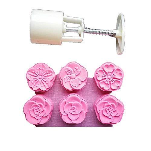 ZYMY Mondkuchen-Form mit 6 Stempeln, für das Mittherbstfest, Hobby-Deko-Presse, 50 g, weiß Plum Blossom