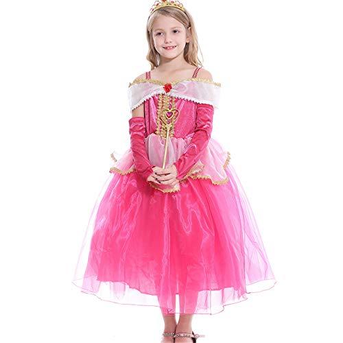 O.AMBW niña Princesa Vestido Bella Durmiente Princesa Aurora Disfraz Rosa Hombro Correa Tul Elegante Capa Falda Fiesta de Halloween cumpleaños Cosplay Disfraz y Accesorios Corona Varita 3-10 años