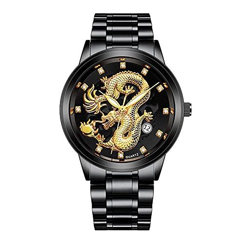 Neu Herrenuhr Premium Uhren Uhren Mit Stahlband Goldener Drache Figur Dominierende Herrenuhr Minimalistische Quartz Armbanduhren FüR MäNner Luxusuhren Quarzuhr Round Dial Casual MäNner Sportuhr