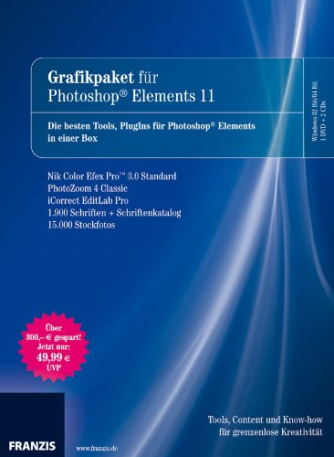 Grafikpaket für Photoshop Elements 11, 1 DVD-ROM + 2 CD-ROMs + Schriftenkatalog Die besten Tools, PlugIins für Photoshop Elements in einer Box. NIK Color Efex Pro 3.0 Standard, PhotoZoom 4 Classic, iCorrect EditLab pro, 1.900 Schriften + Schriftenkatalog, 15.000 Stockfotos