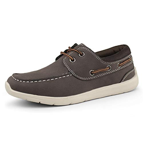 Hawkwell Kids Boys Loafers Casual Boat Shoes(Toddler/Little Kid), Brown PU, 1 M US