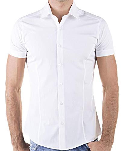 Redbridge by Cipo & Baxx Slim Fit Kurzarm Hemd Business Hochzeit Freizeit (XL, Weiß - White)