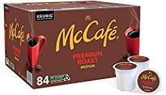 One box of McCafe Premium Roast Medium Coffee K-Cup Pods McCafe Premium Roast Medium Coffee K-Cup Pods let you enjoy the McCafe experience at home or at work Medium roast coffee delivers a smooth, balanced flavor 100% Arabica bean coffee Brew a cup o...