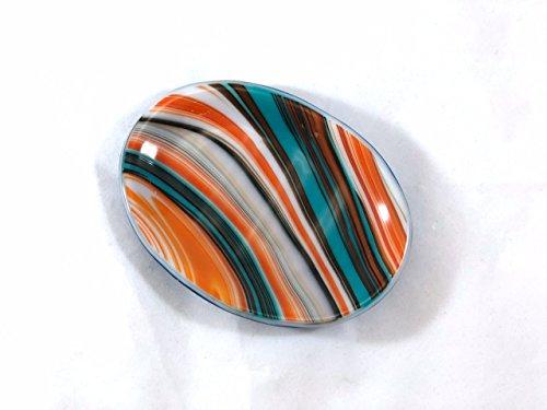 Soap Dish 5' Fused Glass Southwestern Swirl Turquoise and Orange