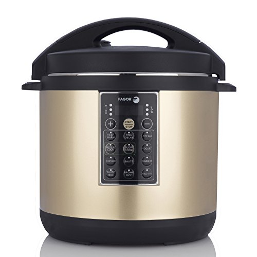 Fagor LUX Multi-Cooker, 6 quart, Electric Pressure Cooker, Slow Cooker, Rice Cooker, Yogurt Maker and more, Champagne - 935010054