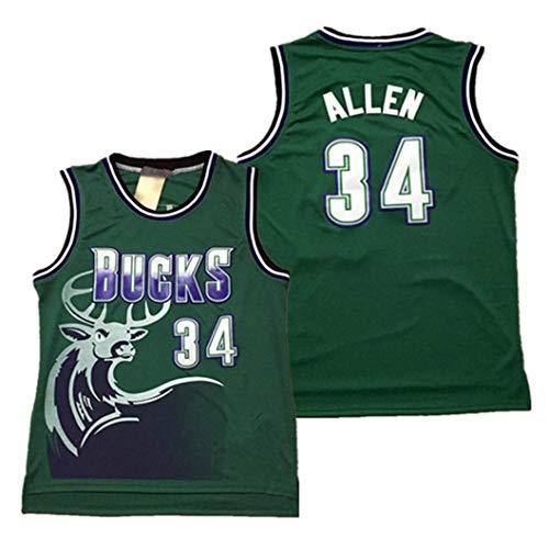 ZeYuKeJi Männer Jersey-NBA Jersey Bucks 34# Grüne große Rotwild-Kopf-Ray Allen Retro Mesh-gestickte Jersey ärmellos T-Shirt (Color : Green, Size : M)