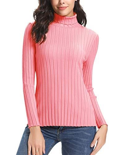 Abollria Suéter de Punto Mujer Elegante Jersey Cuello Alto Elástico Turtleneck Pullover Sweater Manga Larga para Primavera Otoño Invierno Rosa, XL