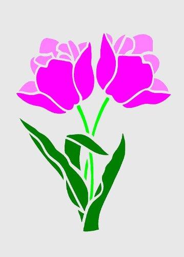 Tulpen, A5, Airbrush, Wanddeko, Schablone, wiederverwendbar, aus Mylar Re 125 micron, A5